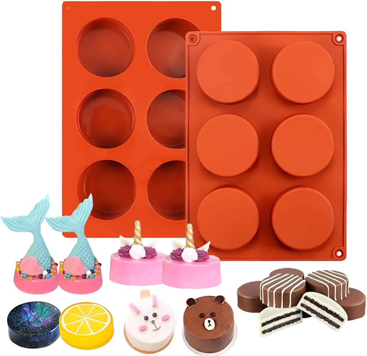 6 Holes Round Cylinder Silicone Molds for Chocolate Covered Cookie,Silicone Baking Mold for Sandwich Cookies Muffin Cupcake Brownie Cake Pudding Jello Soap - 2 Pack (Brown Red)