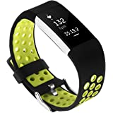 GHIJKL Compatible Fitbit Charge 2 Replacement Band Soft Flexible Silicone Wristband - Adjustable Length - Sizes Men & Women - Breathable Bracelet - Durable Closing Clasp