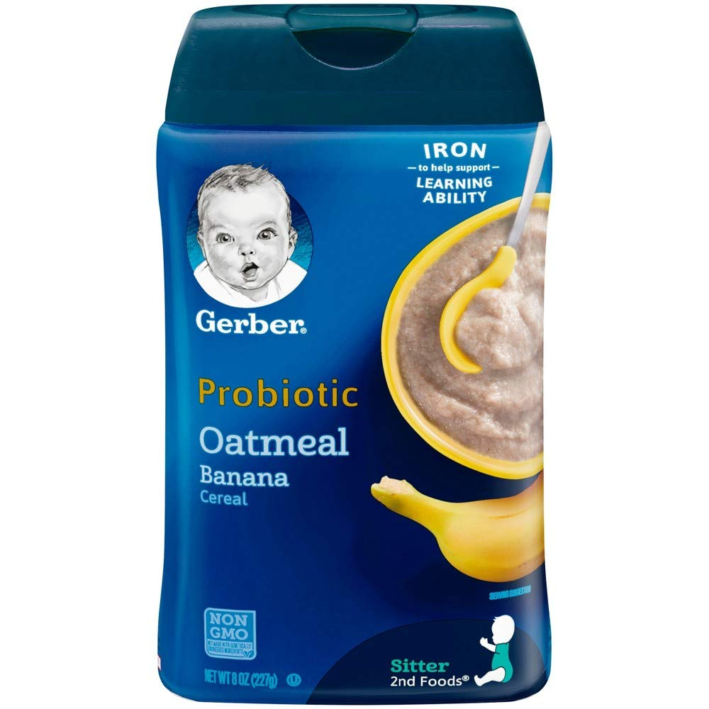 Gerber Baby Probiotic Oatmeal & Banana Cereal (Pack of 4)