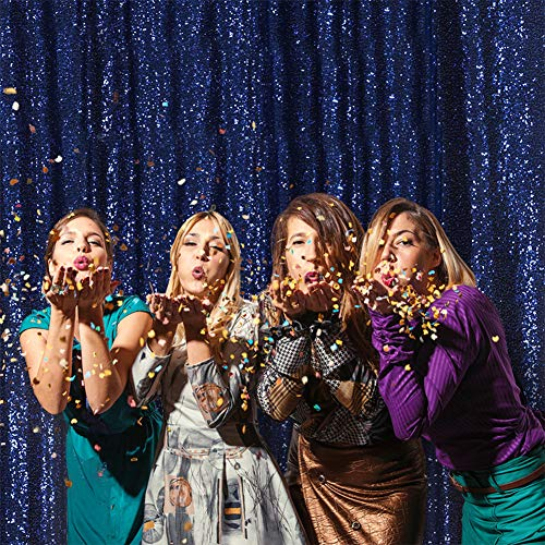 Eternal Beauty Navy Blue Sequin Wedding Backdrop Photography Background Party Curtain, 7Ft X 7Ft