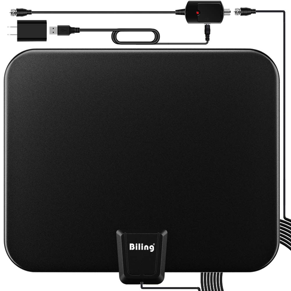 TV Antenna for Digital TV Indoor, 80-120 Miles TV Antenna Indoor Amplified HDTV Antenna, Digital HDTV Antenna Long Range with Amplifier Signal Booster - 16.6 Feet Coax Cable/USB Power Adapter by Biling
