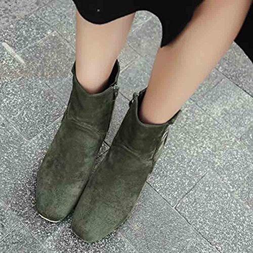 Easemax Mujeres Trendy Buckles Frosted Square Toe Botas De Cremallera De Tacón Grueso Alto Verde