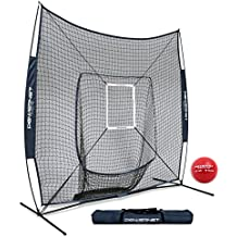 PowerNet DLX 7x7 Baseball Softball Hitting Net + Weighted Heavy Ball + Strike Zone Bundle   Training Set   Practice Equipment Batting Soft Toss Pitching   Team Color   Portable Backstop
