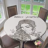 kitchen 67 brunch PINAFORE HOME Round Tablecloth Young Woman with Tattoo for Kitchen 63