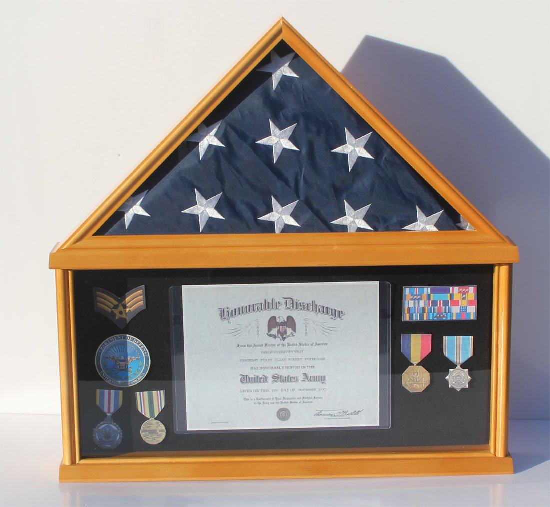 Military Memorial Shadow Box, Burial/Funeral Flag Display Case for 5' X 9.5' Flag (Oak) FC07-OA