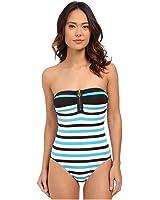 d4e498507c90b MICHAEL Michael Kors Striped Zipper Bandeau Maillot One-Piece Santorini  Swimsuit