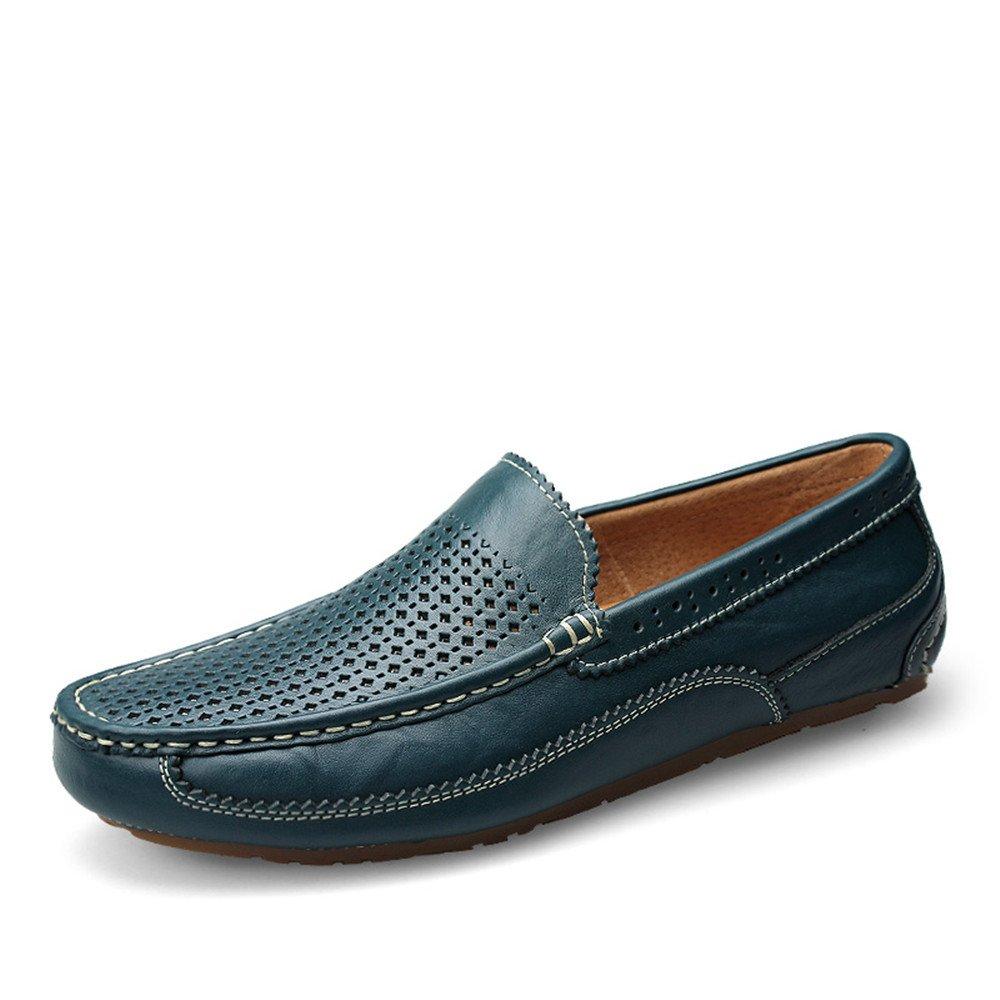 Shufang-Shoes, Mocasines de Papel para Hombre 41 EU|Hollow Blue