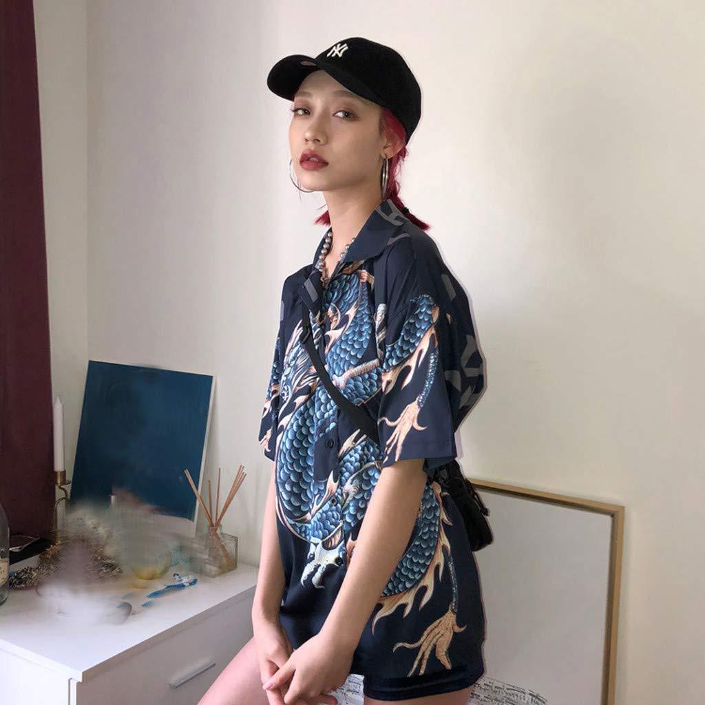 Beautynie Mode Damen Sommer T-Shirt Kurzarm Bluse Fliegen-Drache Drucken Shirt Beil/äufige Lose Hemdbluse chinesischen Stil Hemd Top