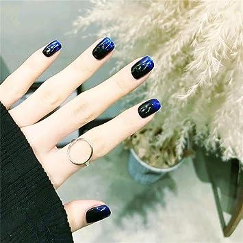Amazon 24pcs Glitter Fake Nails Black And Blue Short Nail Art