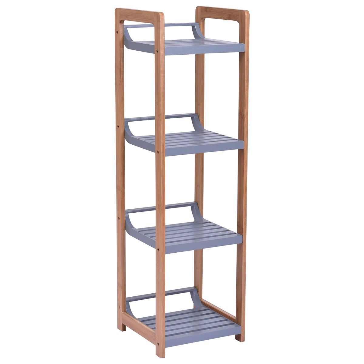 totoshop Multifunction Storage Tower Rack Shelving Shelf Units Stand Bamboo New 4 Tier by totoshop (Image #1)