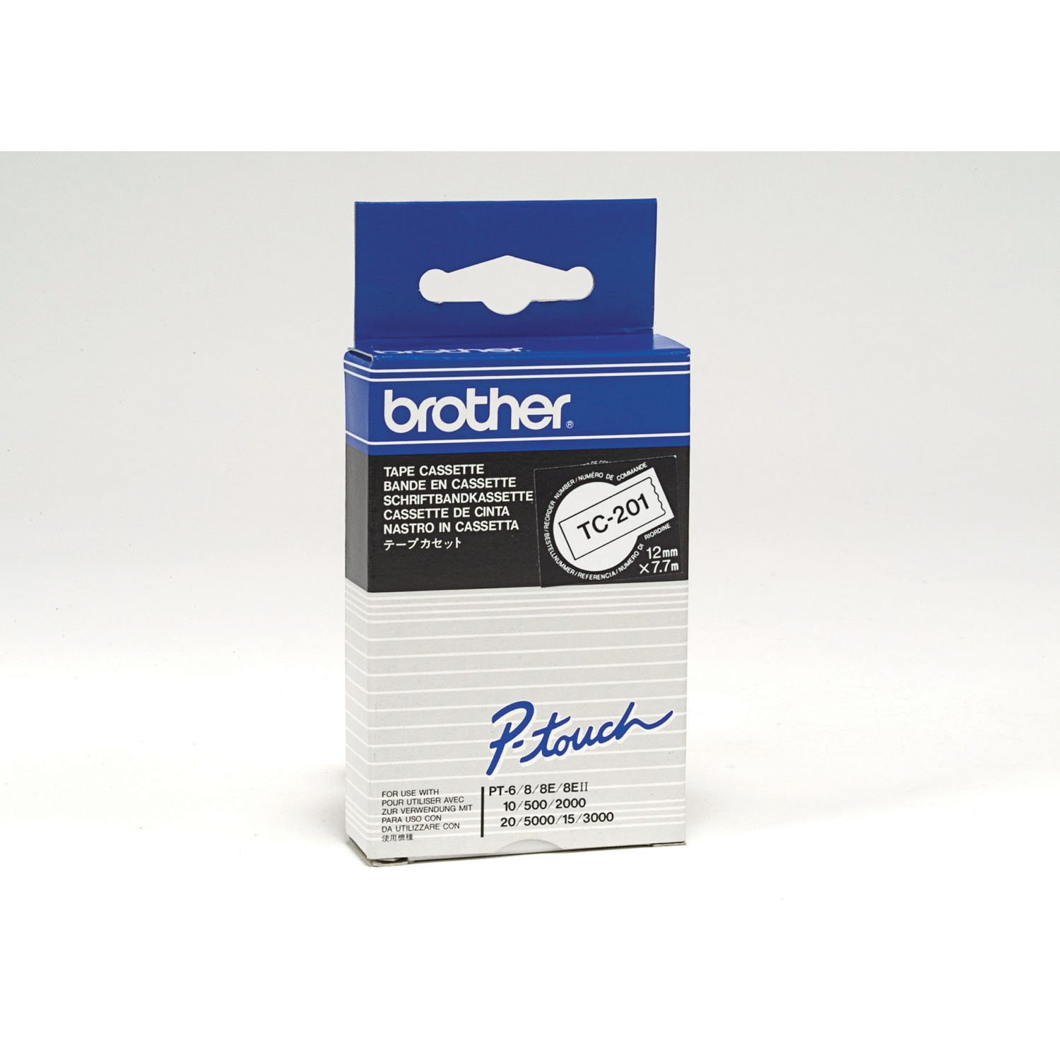 Brother 12mm Black on White Laminated Tapes TC201 Office Supplies