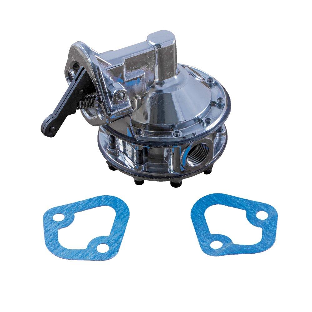 Top Street Performance JM1037C Chrome 130 GPH Free Flow Mechanical Fuel Pump (6 Valve, 12-16 PSI, 1/2'- 14 Inlet/Outlet, Gasoline/Alcohol) 1/2- 14 Inlet/Outlet