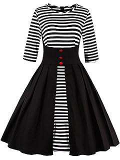 f82a703a6b3019 VKStar Retro Herbst Abendkleid/Cocktailkleid mit Streifen Vintage 50er  Rockabilly Swing Audrey Hepburn Kleid mit
