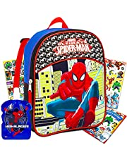 """Marvel Spiderman Mini Toddler Preschool Backpack (11"""") Set with Water Bottle and Stickers (Spider-Man School Supplies Bundle)"""