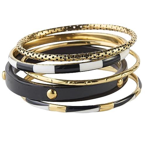 e8ee79bd3d93a Amazon.com  Mud Pie Barcelona Bracelets 5-Piece Set (black)  Jewelry