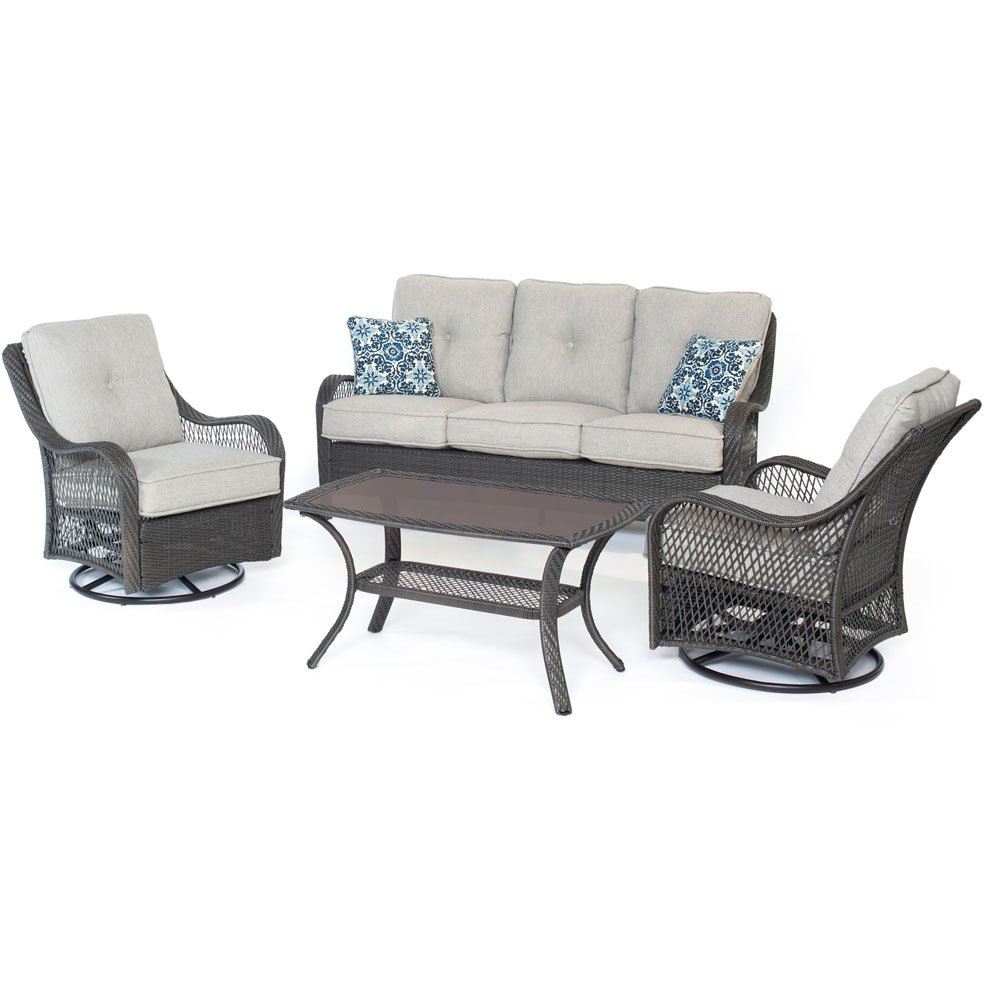 Hanover ORLEANS4PCSW-G-SLV Orleans Silver Lining with Gray Weave 4 Piece All-Weather Patio Set