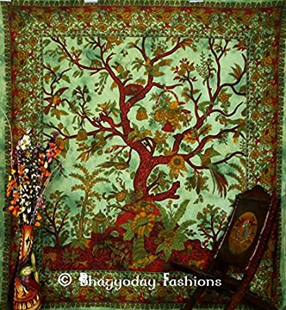 Indian Tree Of Life Tapestry Throw Wall Hanging Cotton Bedspread Tapestries U.K
