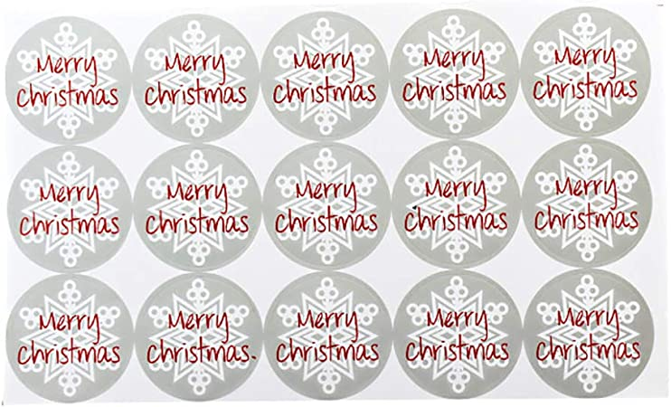 Toyvian Adesivi Etichette Natale Regali di Natale Forma corone Natalizie con Merry Christmas 60 Pezzi