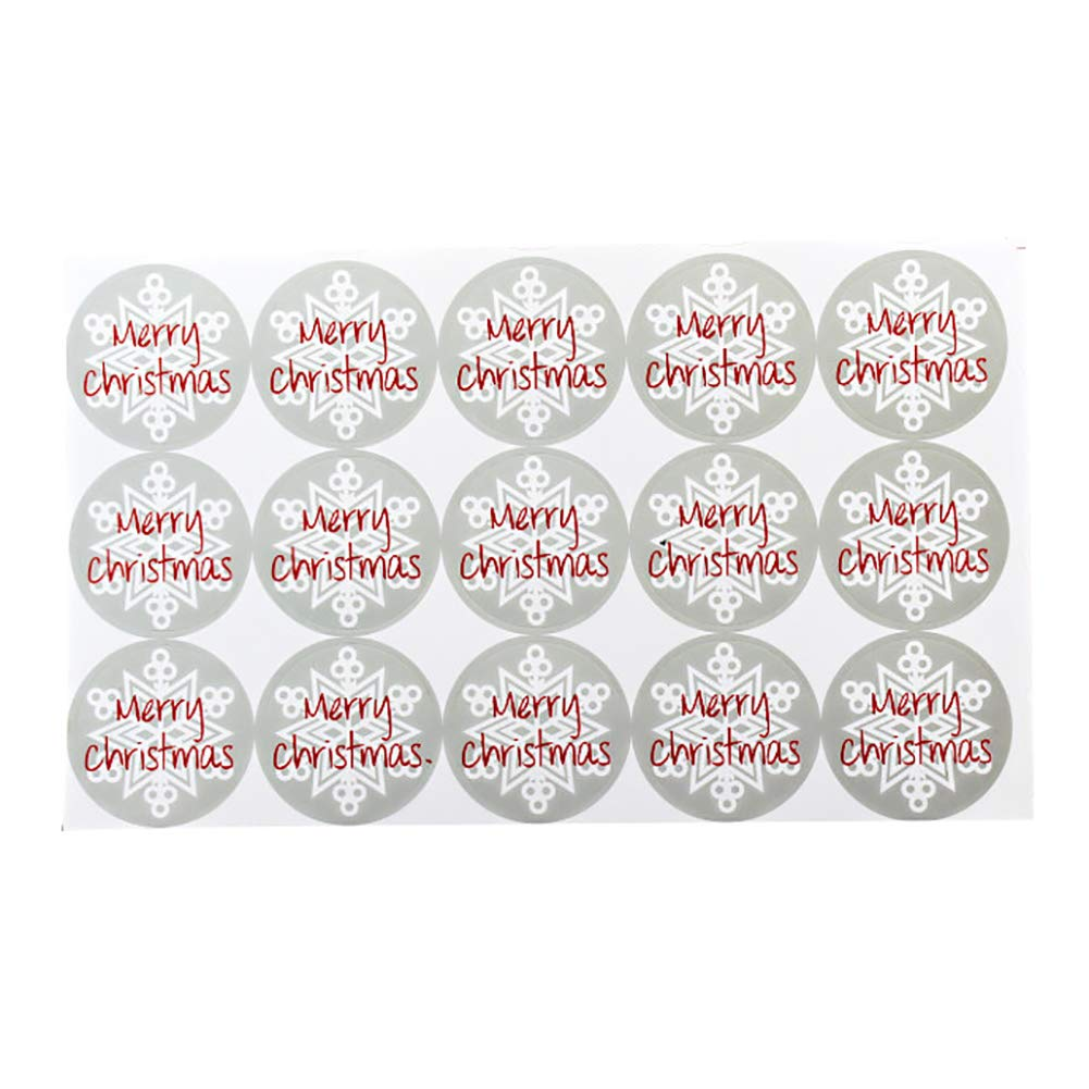 5 Sheets Merry Christmas Paper Stickers, Self-Adhesive Envelope Seals Labels for Festive Cards Gift Decor