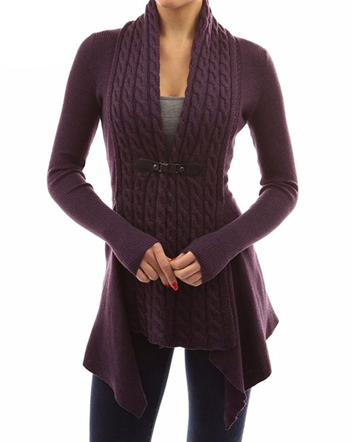xiaoming Women's Casual Open Front Cable Knit Shawl Collar Sweater Cardigan