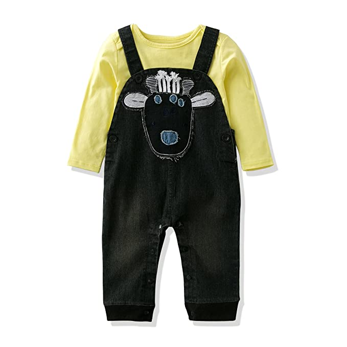32f14545 LvYinLi Baby Boys Clothes Suit Baby Boys' Cotton T-Shirt With Jumpsuit  Denim Overalls
