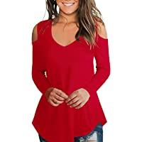 Women's Long Sleeve Cold Shoulder Tunic Tops (various sizes & colors)