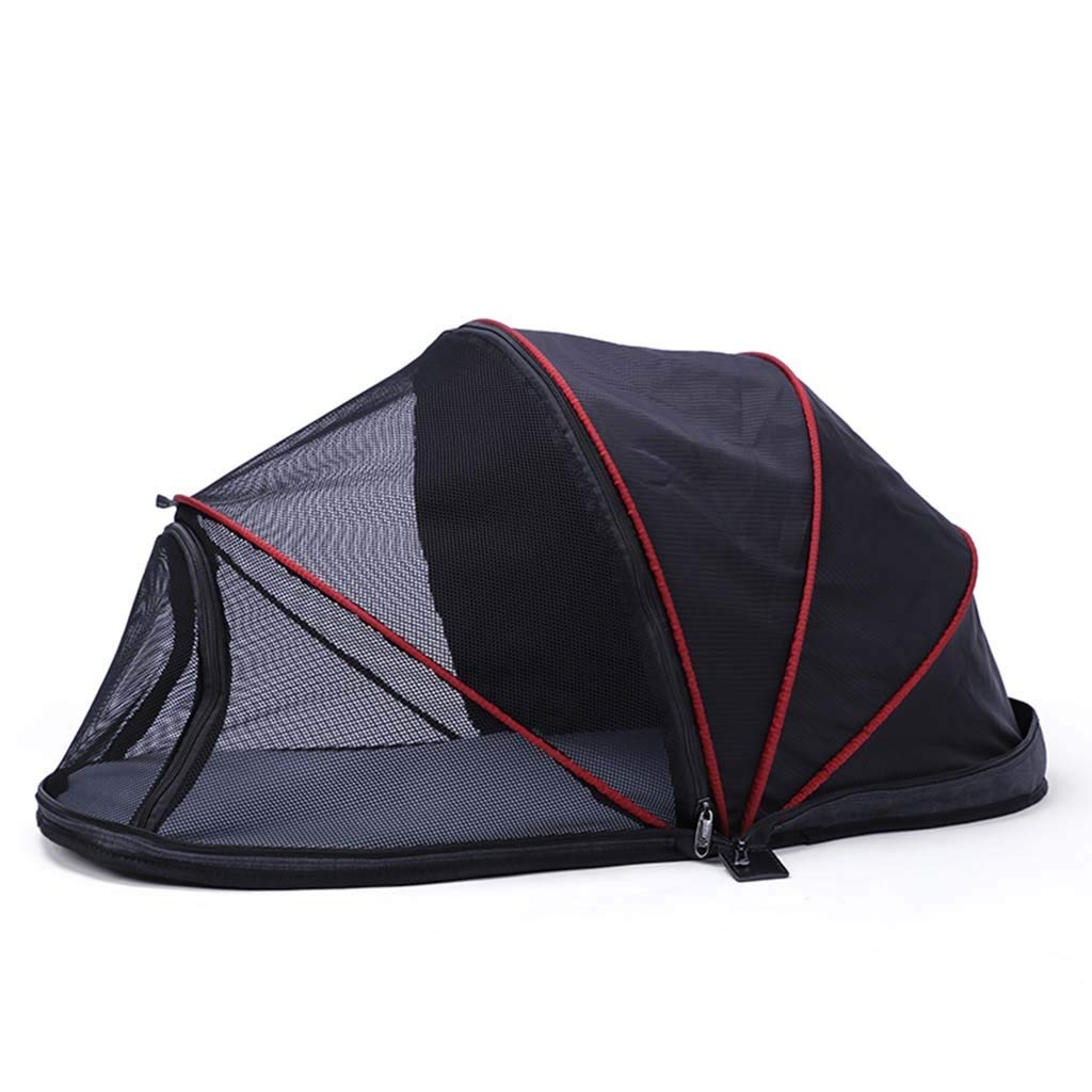 Black ZHAO ZHANQIANG Out-of-the-box portable pet tent Cat litter Teddy small dog tent cat mobile hut Foldable carrying (color   Black)