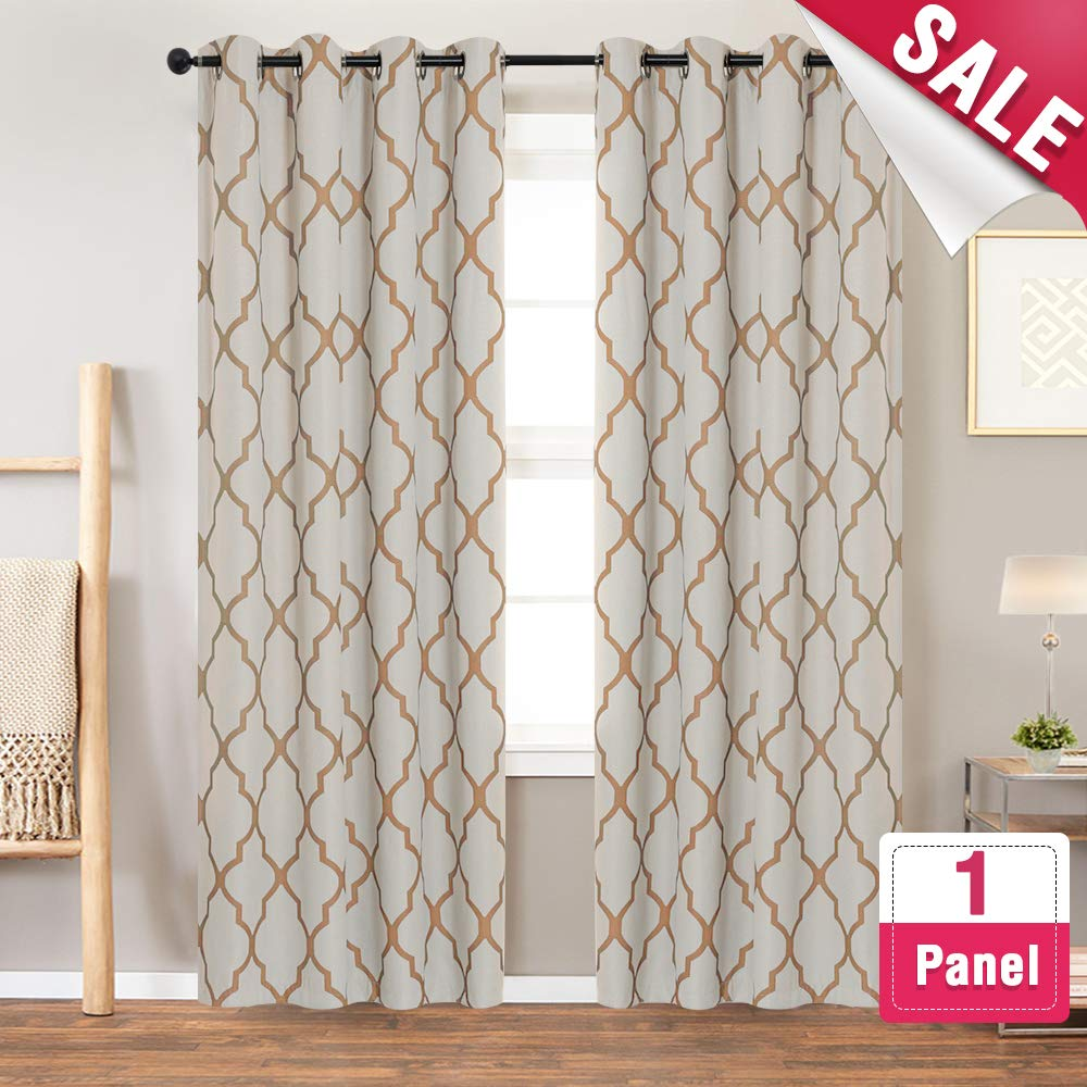 Grey Curtains Linen Textured Curtains for Bedroom 63 inches Moroccan Tile Print Curtains for Living Room Darkening Window Curtain Panels Window Treatment Set, Grommet Top, 1 Panel, Gray Vangao VGMRBLKB1-5263C01