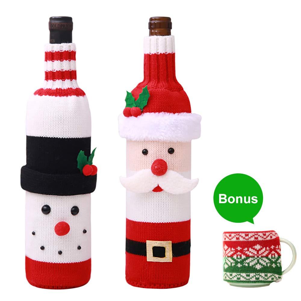 Hulisen Xmas 2 confezione con bottiglia di vino, maglione Ugly di Babbo Natale e pupazzo di neve di vino rosso bottiglia di vino borsa per Natale e Capodanno party with free gift- tazza di Set of 1 Snowman & 1 Santa