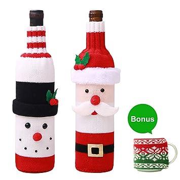 HULISEN - Juego de 2 fundas para botellas de vino, suéter ...
