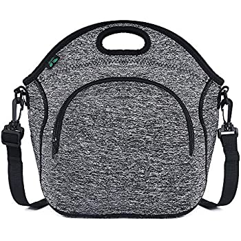 Neoprene Lunch Tote Bag Washable Lunchbox Bag, Non-toxic Insulated Collapsible Lunch Bag with Shoulder Strap Front Zipper Pocket (Gray N2) for Office Picnic by F40C4TMP