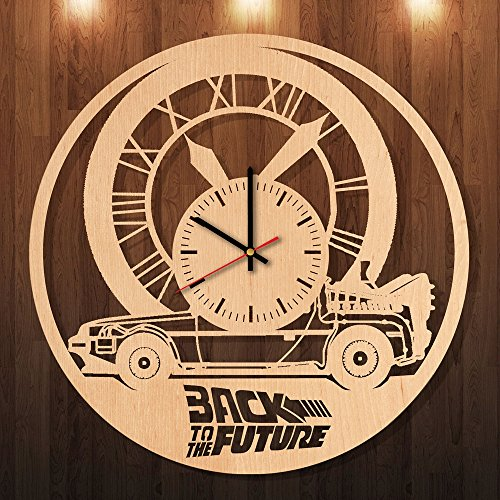 Back To The Future Eco Friendly Wood Wall Clock - Get unique living room wall decor - Gift ideas for siblings, boys and girls – Comedy Adventure Unique Art Design - Back To The Future Party Costume Ideas