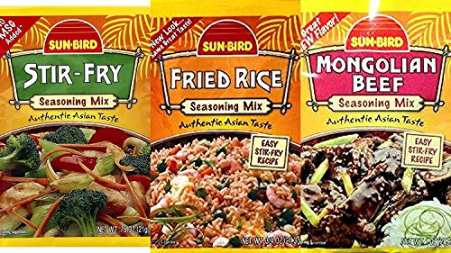 (Sunbird Seasoning Mix Variety Bundle, 0.74-1 oz (Pack of 6) includes 2-Packets Fried Rice + 2-Packets Stir Fry + 2-Packets Mongolian Beef )