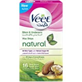 Veet Hair Removal Natural Cold Wax Strips Argan Oil Bikini & Under Arms 16 Count