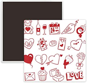 Valentine's Day Wine Love Bird Heart Square Ceramics Fridge Magnet Keepsake Memento