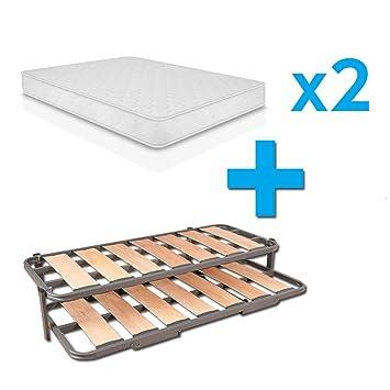 Duermete Cama Nido Completa Láminas Anchas Reforzada + 2 Colchones Viscoelásticos ConfortVisco (Cara Invierno-Verano), Sistema Anti-Ruido, 105 x 200