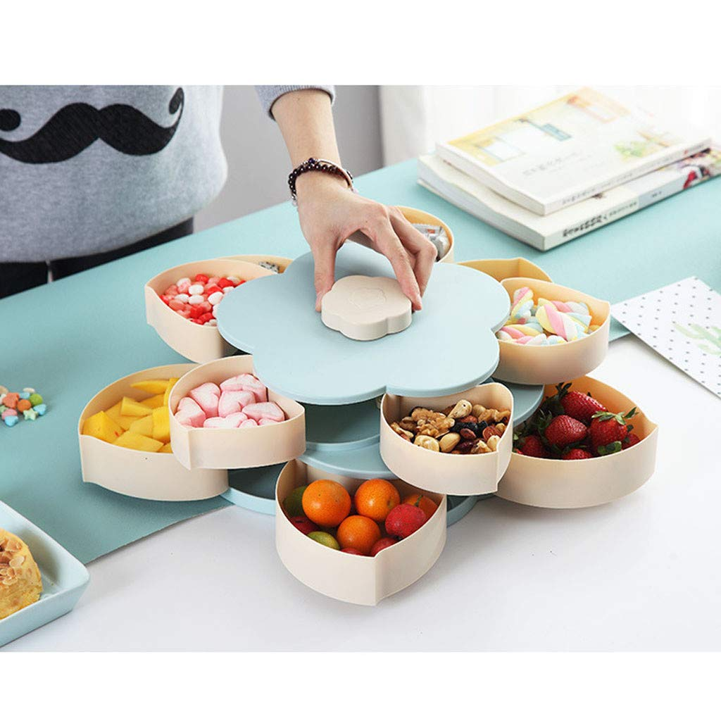 Bloom Snack Box Double-Layer Flower Rotating Food Storage Container Multi Sectional Snack Serving Tray Bowl Box for Nuts, Candies, Chocolate Cute Creative Party Favor by DaoAG (Image #2)