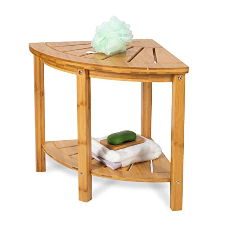 Pleasing Oasiscraft Corner Shower Bench With Free Soap Dish Small Bamboo Shower Stool With Shelf Wooden Bathroom Spa Bath Organizer Seat Perfect For Indoor Spiritservingveterans Wood Chair Design Ideas Spiritservingveteransorg