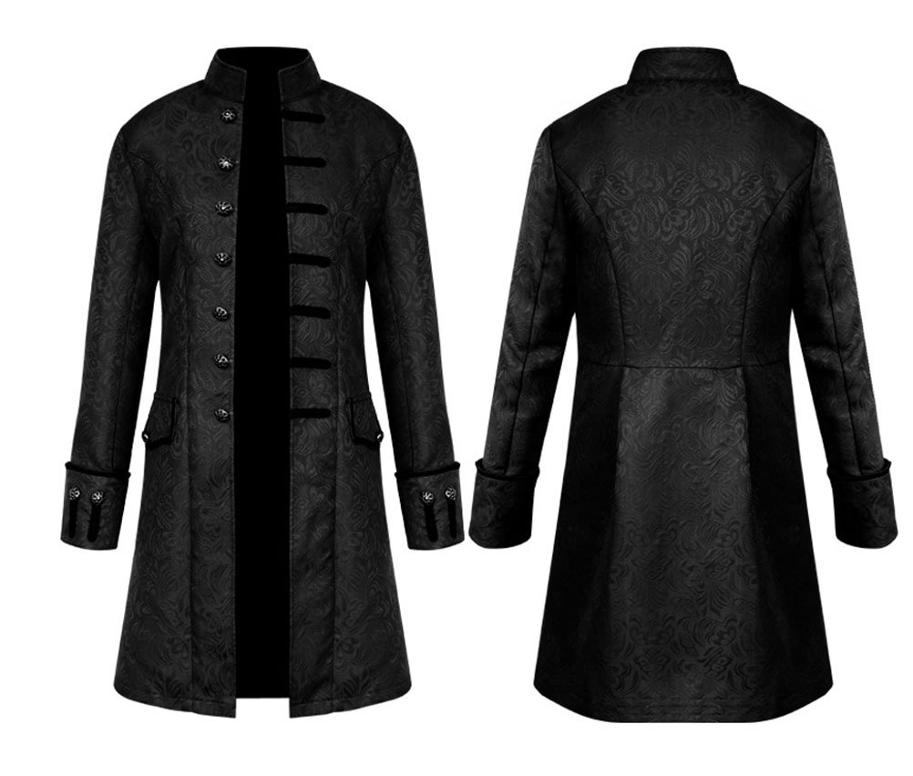 Nobility Baby Mens Medieval Steampunk Stand Collar Coat (XXL, Black)