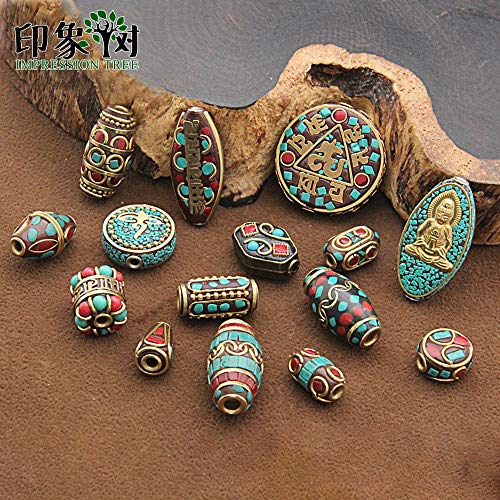 Calvas 15 Styles Retro Nepal Beads Handmade Red Coral Tibetan Bead Antique Golden for Jewelry Making DIY Bracelets 1168 - (Item Diameter: C)