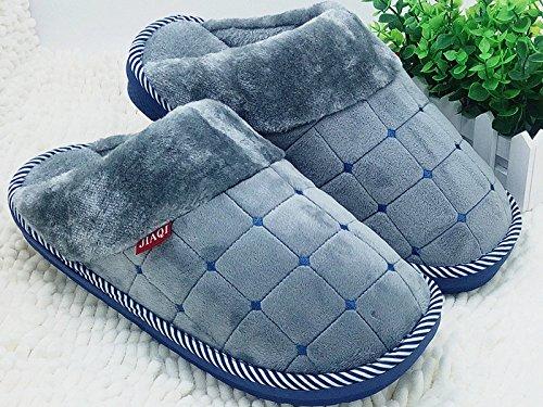 CWAIXXZZ pantoufles en peluche Laugmentation dhiver chaussons coton code mens King Size 45 46 47 48 dépaisseur, antidérapants chaussures accueil chaleureux, 310 (44-45) pour pied usure, 灰 (7858 ch