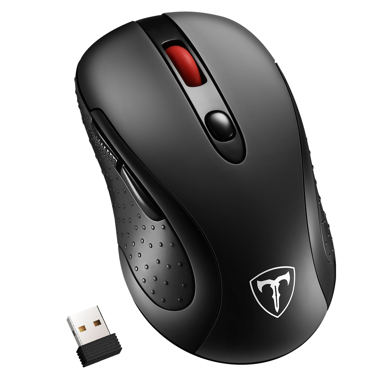 Habor Wireless Mouse, 2.4G Computer Mice Portable Optical Cordless Mouse with USB Receiver, 5 Adjustable DPI Levels, 6 Buttons Wireless Gaming Mouse for Laptop, PC, Macbook - Black