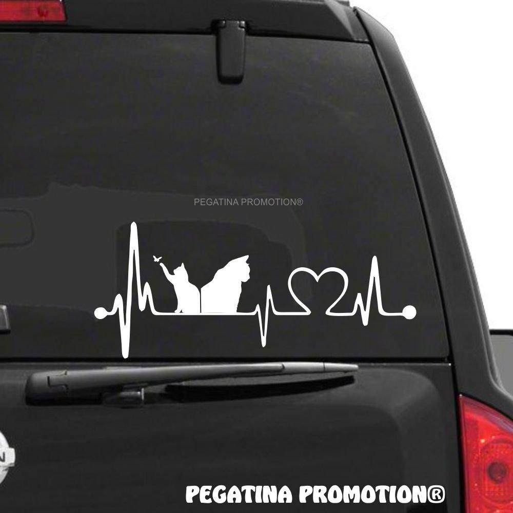 Katzen Cats Herzschlag Aufkleber 30 cm Herzlinie Hobby Sticker Auto Lack Scheibe Autoaufkleber von Pegatina Promotion ® Pegatina Promotion ®