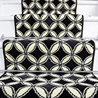Lima Black White Carpet Tile Design Stair Carpet in 2 - 3 Widths and 1 - 64 Lengths