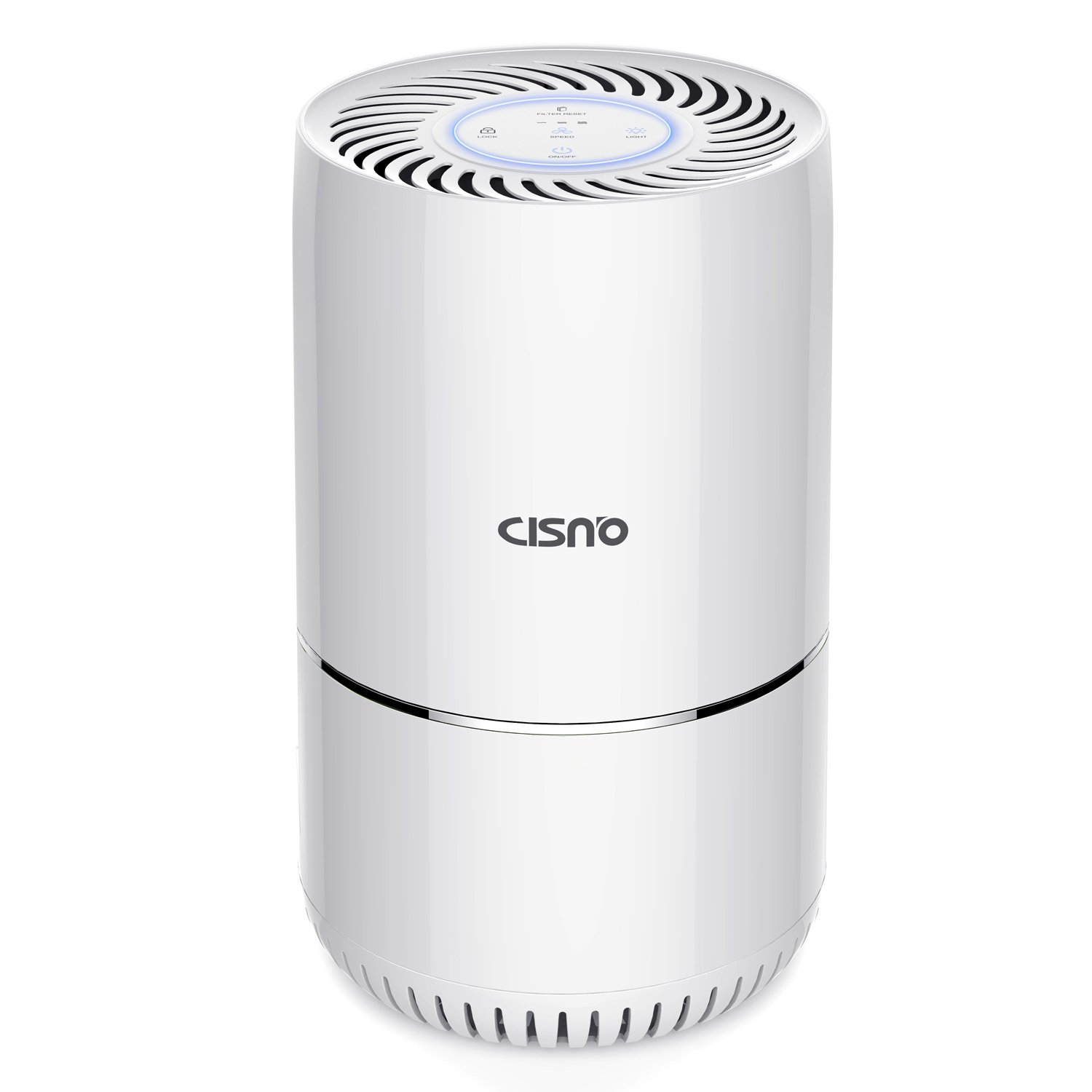 CISNO Air Purifier With True HEPA Filter, Powerful 3-Stage Filtration, Captures 99.99% Pollen, Smoke, Household Odor, Allergies, Pets Dander, Allergen Remover, Quiet For Home, US-120v