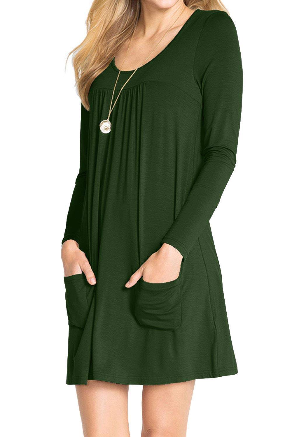 AMCLOS Womens Dress Plus Size Swing Simple Ruffle with Pockets Loose Casual Plain Round Neck Dresses Long Sleeve (Large, Green)