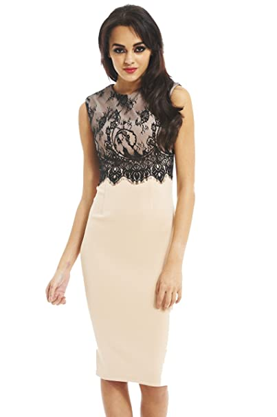 Amazon.com  AX Paris Women s Lace Overlay Midi Dress  Clothing 1beb0df29
