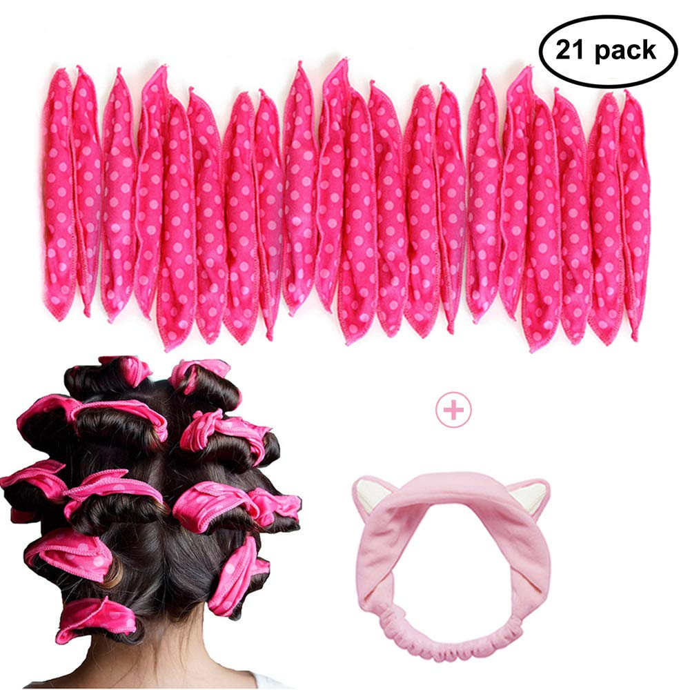 GIANCOMICS 21pcs Soft Hair Rollers Flexible Night Sleep Foam Hair Curlers for Long, Short, Straight, Curly Hairs DIY Sponge Hair Styling Rollers + Cat Ears Headhand for Women Girl