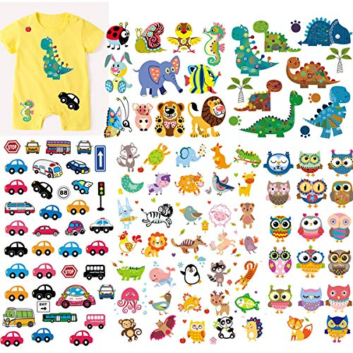 (5 Sheets) Kids Iron On Transfers Patches Set, Akwox Assorted Dinosaur Animal Car Iron on Appliques Patches Heat Transfer Stickers for T-Shirt Clothing Jeans Backpack