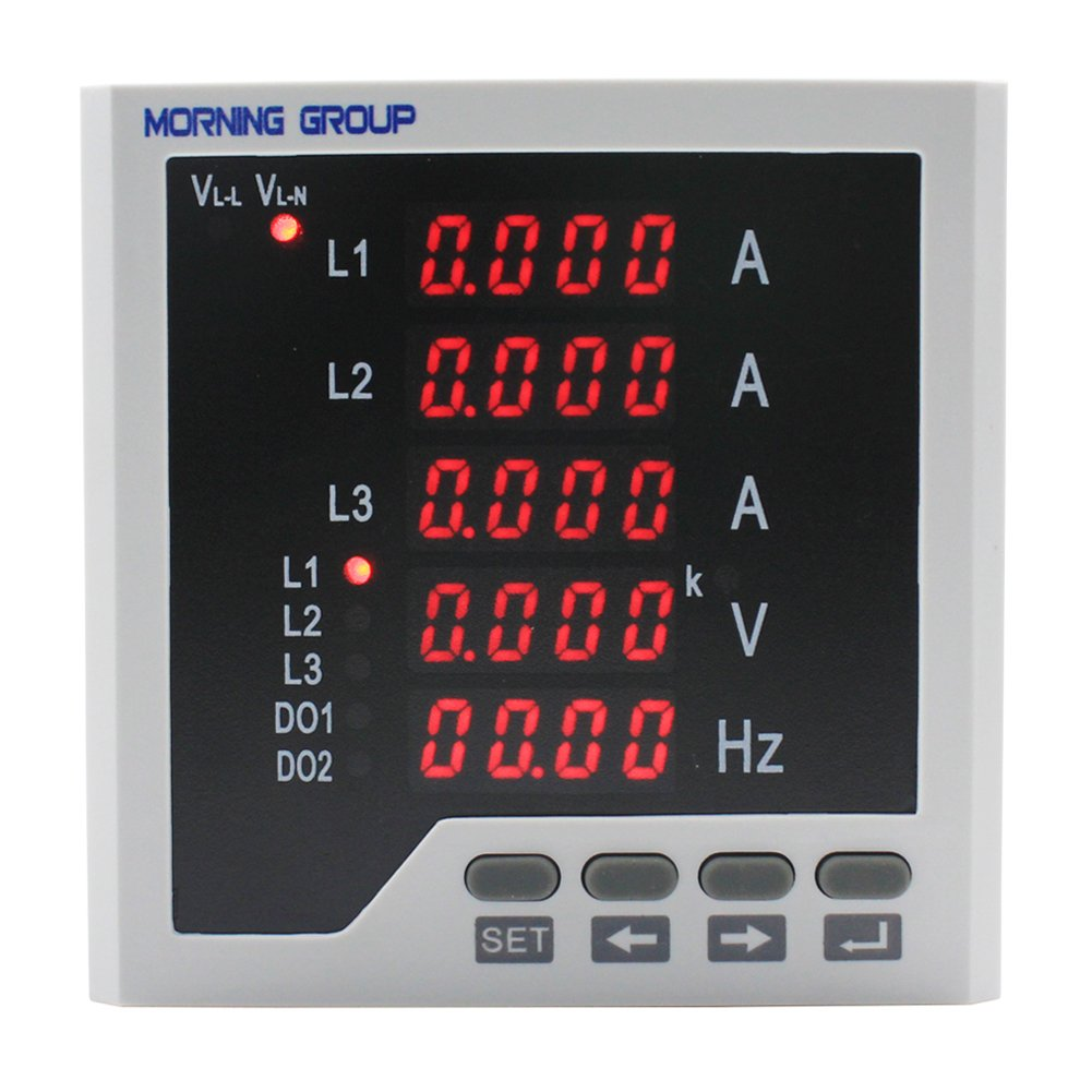 Morning Group 3 Phase LED Digital Display Multifunction Current Voltage Frequency Meter(Three Phase (Panel Size:3.78 3.78in)) by Morning Group (Image #8)